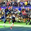 Seattle Seahawks cornerback, THAROLD SIMON, slaps the football away from New England Patriots wide receiver BRANDON LAFELL in the fourth quarter of Super Bowl XLIX. The Patriots went on to win 28-24.