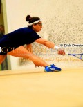 Trinity College junior, KANZY EL DE FRAWY, stretches for the ball in the Collegiate Squash Association championship match against Harvard University senior, AMANDA SOBHY, at Princeton University Jadwin Squash Gym. KANZY lost the match 3-1.