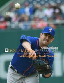 New York Mets starting pitcher, MATT HARVEY, throws his first official major league pitch since 2013 and his Tommy John surgery, a strike to Washington Nationals lead off batter MICHAEL TAYLOR at Washington Nationals Park Stadium. HARVEY threw shut out ball for 6 innings, allowing 4 hits no runs, 1 base on balls, and striking out 9 leading the Mets to a 6-2 victory.(AP Photo/Dick Druckman)