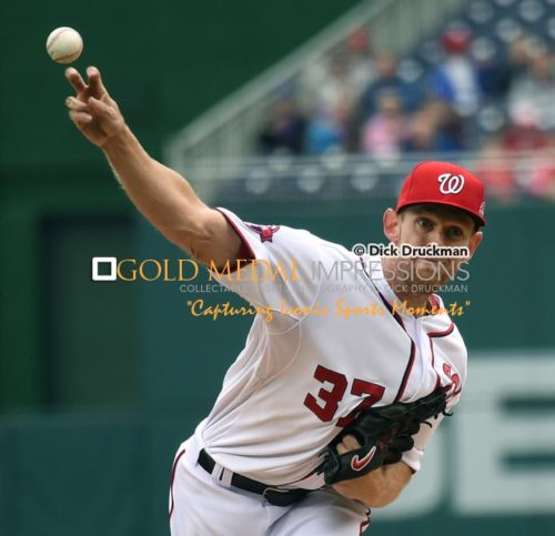 Washington Nationals starting pitcher, STEPHEN STRASBURG, throws his first pitch to New York Mets Curtis Granderson, at Nationals Park. STRASBURG completed 5 i/3 innings, giving up 9 hits, 4 earned runs, 1 bases on balls with 5 strike outs. The Nationals lost to the Mets 6-2.(AP Photo/Dick Druckman)
