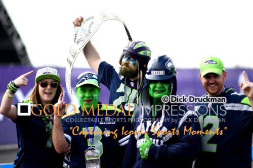 Five of the 12TH MAN fan base show their enthusiasm for their team prior to Super Bowl XLIX. Despite their support, the Seahawks lost 28-24.
