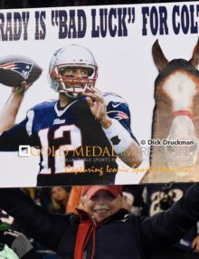 THIS SIGN SAYS IT ALL New England Patriots quarterback, TOM BRADY, displayed at the game against the Indianapolis Colts in the AFC championship game at Gillette Stadium in Foxboro ,Massachusetts. The Patriots went on to win 45-7, earning a trip to Super Bowl 49 against the Seattle Seahawks.