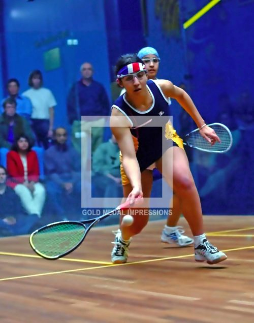 Trinity College Squash super star Amina Helal from Eng land scores point against The University of Pennsylvania Runa Reta in the CSA Women's championship game in Hartford, Connecticut on March 2, 2003. Helal won 3-1 winning the national individual championship for the second year in a row.(AP Photo/Dick Druckman)
