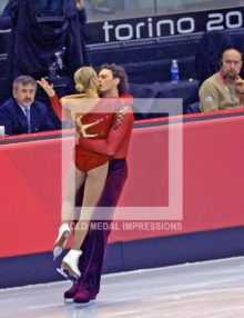 Russian Ice Skating Pairs Tastiana Totmianina and Maxim Marinin show their passion at the Free Skating Competition in Torino Italy on February 13, 2006. The Russian Pair won the Gold Medal.(AP Photo/Dick Druckman)