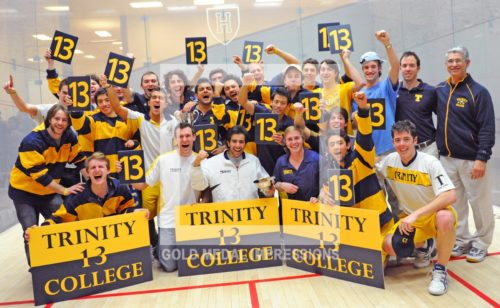 Trinity College men's squash team wins their 13th consecutive national championship, defeating Yale University 5-4 at the Murr Center in Cambridge, Mass. Trinity won its 243rd consecutive match over a 13year period, the longest winning streak in Collegiate sports.(AP Photo/Dick Druckman)