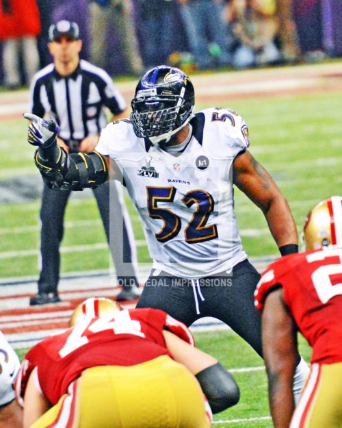 Baltimore Ravens leader, Ray Lewis, directs the Ravens defense in the fourth quarter against the San Francisoc 49ers in Super Bowl XLVII. The Baltimore Ravens