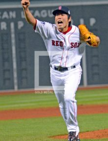 KOJI UEHARA CELEBRATES WINNING WORLD SERIES