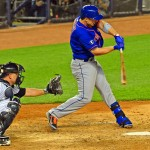 New York Mets third baseman, David Wright, singles in the top of the 4th inning against the New York Yankees driving in a run. Wright had three hits and two RBIs leading the Mets to 12-7 victory in the second game of the Subway Series