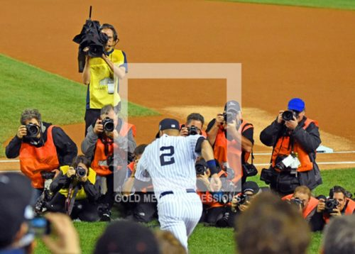 New York Yankees captain, Derek Jeter, enters Yankee Stadium for the last time--September 25, 2014, as photographers capture the iconic moment. Derek had a storybook last game of his career at the stadium against the Baltimore Orioles, winning the game in the bottom of the ninth inning with a walk off single, driving in his third run of the game and giving the New York Yankees a 6-5 victory.(AP Photo/Dick Druckman