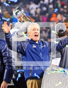 Seattle Seahawks head coach, Pete Carroll, celebrates winning Super Bowl XLVIII at MetLife Stadium, defeating the Denver Broncos 43-8 in one of the most lopsided Super Bowl games.(AP Photo/Dick Druckman)