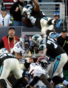 Carolina Panthers running back JONATHAN STEWART scores the Panthers first and only touchdown in Super Bowl 50.