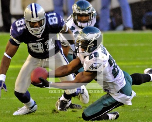 Philadelphia Eagles free safety Brian Dawkins intercepts pass intendied for Terrell Owens