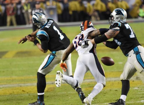 Denver Bronco's outside Linebacker VON MILLER causes CAM NEWTON to fumble for the second time, MILLER made 6 tackles, 2 1/2 sacks, and caused 2 fumbles and was named the MVP of SUPER BOWL 5O.