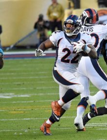 Denver Bronco's running back CJ ANDERSON runs for a first down against the Carolina Panthers in SUPER BOWL 50. The Bronco's went on to win 24-10.