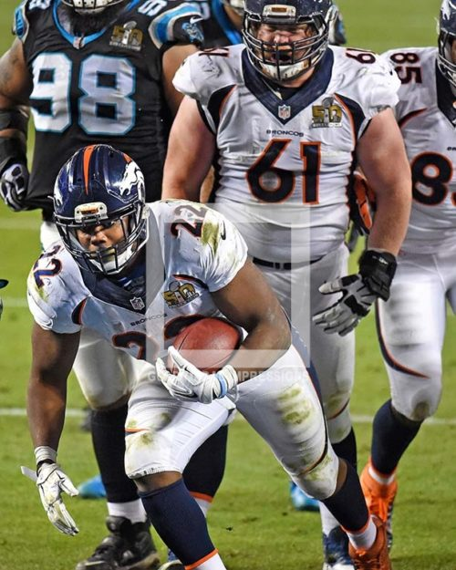 Denver Bronco's running back CJ ANDERSON scores the winning touchdown against the Carolina Panthers in the fourth quarterat Levi's Stadium. The Bronco's went on to win Super Bowl 50, 24-10.