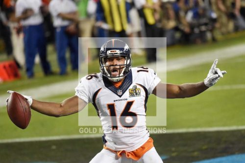 Denver Bronco's wide receiver BENNIE FOWLER celebrates scoring a two point conversion on a pass from Payton Manning in the fourth quarter against the Carolina Panthers. The Bronco's won Super Bowl 50 24-10.