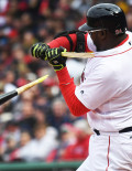 DAVID ORTIZ breaks his bat in the third inning against the Baltimore Orioles starting pitcher y Gallardo. While Ortiz went 2 for 4, the Red Sox lost their home opener 9-7.
