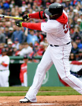 DAVID ORTIZ singles in the first inning off of Baltimore Orioles starting pitcher Yovani Gallardo. Ortiz went 2 for 4 in his last home game at Fenway Park while the Red Sox lost 9-7.