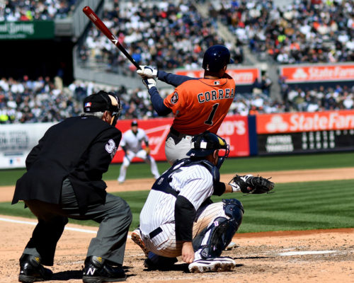 Houston Astros shortstop, CARLOS CORREA, homers in the top of the 6th inning against New York Yankees Masahiro Tanaka to tie the game 2-2. The Astros went on to win 5-3 in the season home opener.