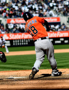 Houston Astros third baseman, LUIS VALBUENA, hits a 2 run single in the 8th inning off of New York Yankees reliever Dellin Betances giving the Astros a 5-2 lead. The Houston Astros went on to win the season opener 5-3.