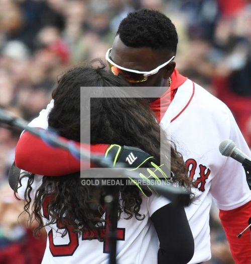 """NEVER SURPRISE ME AGAIN LIKE THAT"" Boston Red Sox Icon DAVID ORTIZ tells his daughter ALEX after kissing her after she surprised him by singing the National Anthem at his final Red Sox home opener. David went 2 for 4 in his final home opener at Fenway Park in a losing effort as the Red Sox lost 9-7 to the Baltimore Orioles."