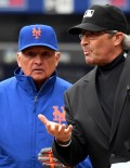 New York Mets manager, TERRY COLLINS, and Philadelphia Phillies manager, PETE MACKANIN, review the ground rules with chief umpire prior to the Mets Home Opener at CitiField. The Mets went on to win 7-2.