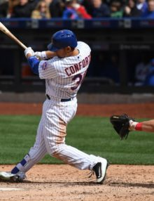 In his first home opener for the Mets, left fielder MICHAEL CONFORTO, hits an RBI double in the sixth inning. CONFORTO also hit a 2-run single in the seventh inning, leading the Mets to a 7-2 home opener victory.