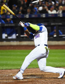 New York Mets outfileder, YOENIS CESPEDES, hits a grand slam home run in the third inning , his second hit of the inning, driving in the 9th, 10th, 11th , and 12th runs of the inning-- a New York Mets franchise record.