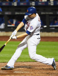 New York Mets second baseman, NEIL WALKER, doubles in the fourth run of the third inning off of starting pitcher Jake Peavy. The Mets went on to win 13-1.