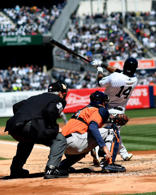 In his first time at bat in a New York Yankees uniform, former Chicago Cubs second baseman, STARLIN CASTRO, hits a two-run double down the third baseline giving the Yankees a 2-0 lead over the Houston Astros in the second inning. Houston battled back to tie the game in the 6th inning and untimately win 5-3.