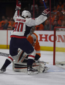 Washington Capitals MARCUS JOHANSSON scores in the first period against Philadelphia Flyers goaltender STEVEN MASON in game three of the Stanley Cup playoffs round one at the Wells Fargo Center. The Capitals went on to win 6-1, taking a 3-0 lead in the series.