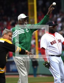Three Boston Sport Icons, BOBBY ORR, BILL RUSSELL, and DAVID ORTIZ throw out the first ceremonial pitch at the Red Sox home opener at Fenway Park. Unfortunately, the Red Sox lost their opener 9-7 to the Baltimore Orioles who have started the season 6-0, the best start in their franchise history.