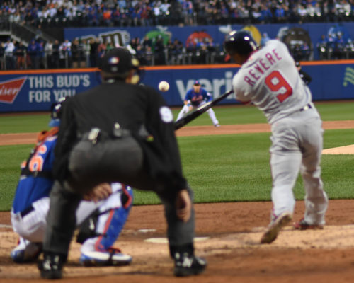 BEN REVERE HITS A RBI SINGLE IN THE 3RD INNING