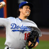 Los Angeles Dodgers KENTA MAEDA throws first pitch of game