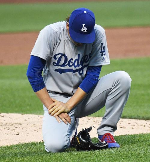 Los Angeles Dodgers KENTA MAEDA hit by a line drive