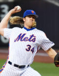 New York Mets NOAH SYNDERGAARD pitches to LA Dodgers Chase Utley