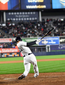 New York Yankees outfielder AARON HICKS hits a tiebreaking home run in the bottom of the 7th inning off of Boston Red Sox starter Rick Porcello. The Yankees went on to win 3-2.