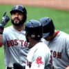 Boston Red Sox SANDY LEON celebrates hitting a home run