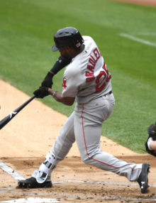 Boston Red Sox JACKIE BRADLEY JR. singles in the second