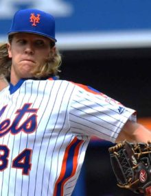 New York Mets NOAH SYNDERGAARD stirkes out Cubs Peralta to end the 7th