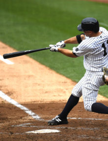 New York Yankees BRETT GARDNER homers in the third
