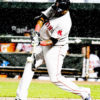 Boston Red Sox designated hitter DAVID ORTIZ hits an RBI double