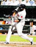 Boston Red Sox designated hitter DAVID ORTIZ hits an RBI double