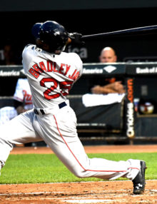 Boston Red Sox outfielder JACKIE BRADLEY JR hits a two-run home run