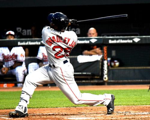 Boston Red Sox outfielder JACKIE BRADLEY JR hits a two-run home run