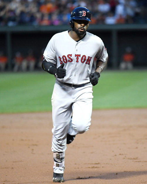 Boston Red Sox outfileder JACKIE BRADLEY JR rounds third