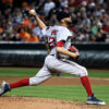 Boston Red Sox DAVID PRICE strikes out Baltimore Orioles third baseman Manny Machado