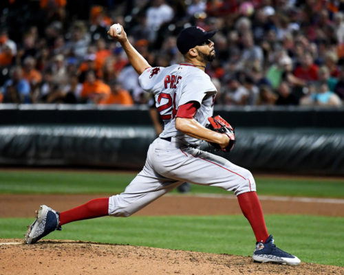 Boston Red Sox DAVID PRICE strikes out Baltimore Orioles third baseman Manny Machado