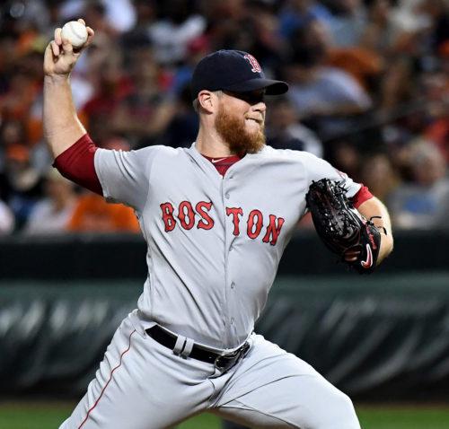 Boston Red Sox closer CRAIG KIMBREL strikes out Baltimore Orioles pinch hitter Hyun Soo Kim