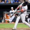 Boston Red Sox designated hitter DAVID ORTIZ(BIG PAPI) singles